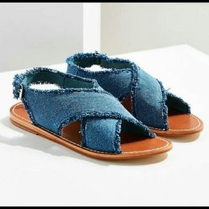 Urban Outfitters Frayed Denim Cross Strap Sandal 9